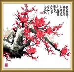 Tranh thêu chữ thập: hoa đào ngày xuân