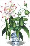 Tranh thêu chữ thập: Hoa sen xanh