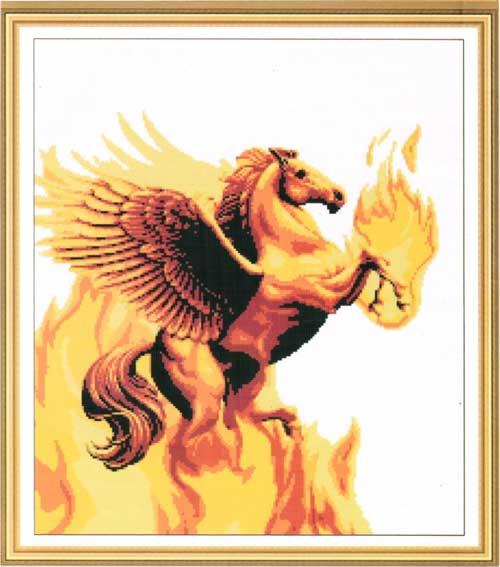 Tranh thêu chữ thập: Ngựa phun lửa