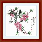 Tranh thêu chữ thập: Báo hiệu mùa xuân- chú chim nhỏ và cành đào