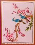 Tranh thêu chữ thập: Đôi chim uyên ương và Tổ ấm