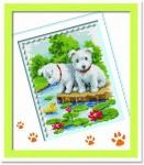 Tranh thêu chữ thập: 2 chú cún (in màu)