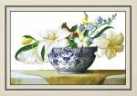 Tranh thêu chữ thập: Bát hoa (in màu)
