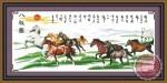Tranh thêu chữ thập: Bát mã toàn đồ (in màu)