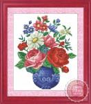Tranh thêu chữ thập: Bình hoa (in màu) 2