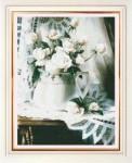 Tranh thêu chữ thập: Bình hoa hồng (in màu) 2