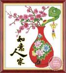 Tranh thêu chữ thập: Bình mai đỏ (in màu)