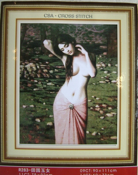 Tranh thêu chữ thập: Cô gái (in màu)