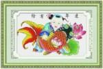 Tranh thêu chữ thập: Em bé cưỡi cá chép (in màu) 2
