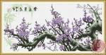 Tranh thêu chữ thập: Mộc long đào hoa (in màu)