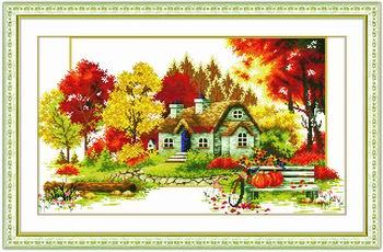 Tranh thêu chữ thập: Mùa thu (in màu) 2