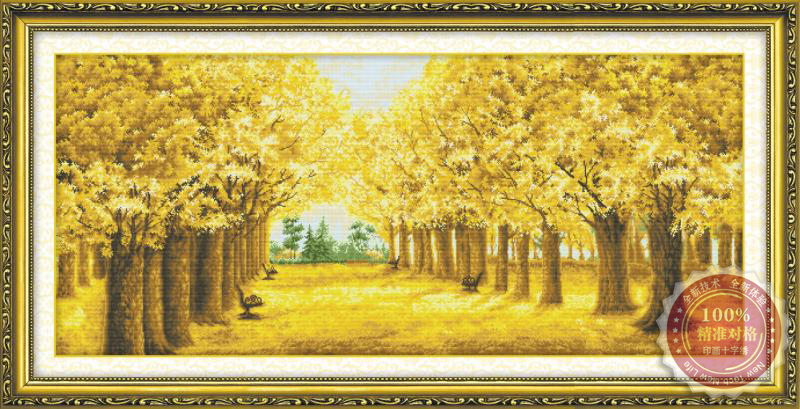 Tranh thêu chữ thập: Mùa thu vàng (in màu)