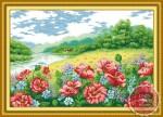 Tranh thêu chữ thập: Rừng hoa (in màu)