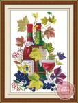 Tranh thêu chữ thập: Rượu nho (in màu)