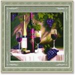 Tranh thêu chữ thập: Rượu nho (in màu) 2