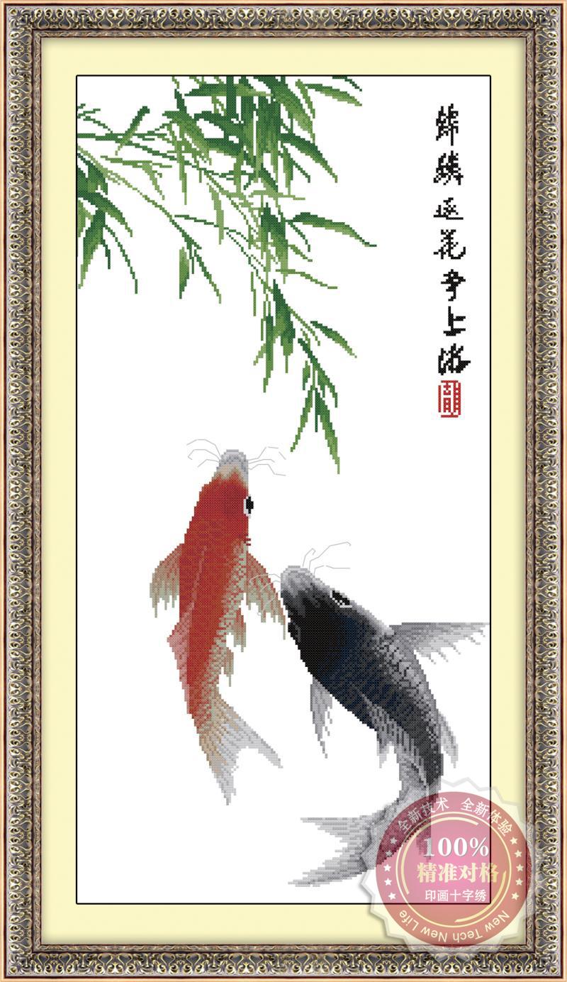 Tranh thêu chữ thập: Song ngư (in màu) 2