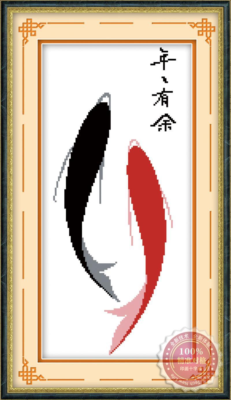 Tranh thêu chữ thập: Song ngư (in màu)