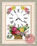 Tranh thêu chữ thập: Đồng hồ, giỏ hoa