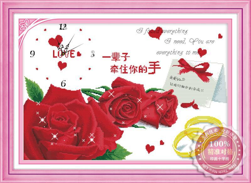 Tranh thêu chữ thập: Đồng hồ, hoa hồng