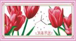 Tranh thêu chữ thập đồng hồ hoa tuylip Y8190