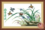 Tranh thêu chữ thập: Hoa lan