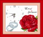 Tranh thêu đồng hồ hoa hồng