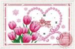 Tranh thêu đồng hồ: Hoa tuylip