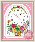 Tranh thêu đồng hồ: Lẵng hoa