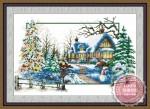 Tranh thêu ngôi nhà mùa đông